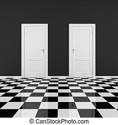 svartvitt, tömma rum