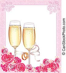 svatba, šampaňské mikroskop
