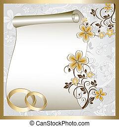 svatba, karta, s, jeden, květinový charakter
