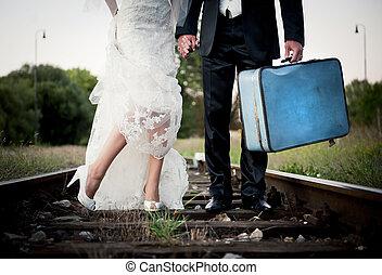 svatba, kráčet