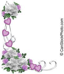 svatba, miláček, hraničit, růže