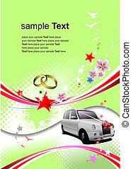 svatba, pozdrav, card., vektor, illustration., pozvání, karta