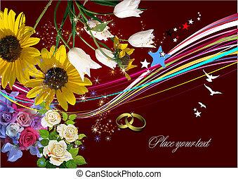 svatba, pozdrav, card., vektor, illustration., pozvání,...