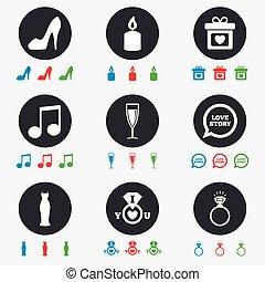 svatba, závazek, icons., kroužek, s, diamond.