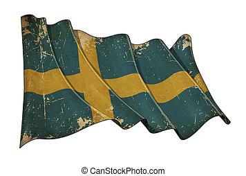 svedese, graffiato, bandiera, invecchiato
