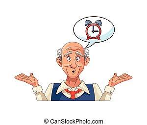 sveglia, bolla discorso, vecchio, nonno
