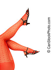 svelte, jambes, rouges, collant
