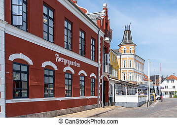 colorful buildings in the historic old town center of Svendborg