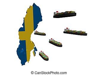 svensk, eksporter, beholder afsender