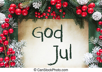 svensk, gud, betyder, dekoration, jul, merry, tekst, jul