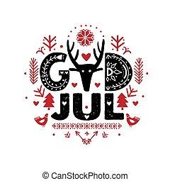 svensk, jul, gud, jul, calligraphy, merry