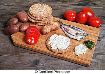 svensk, sill, och, ingredienser, på, den, bitande planka