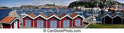 svensk, väst, yachter, kust, fiskeläge, marina, fjällbacka