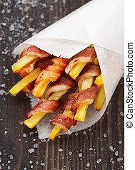 svept, bacon, fräsa, fransk