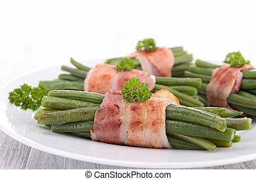 svept, grön böna, bacon