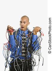 svept, man, cables.