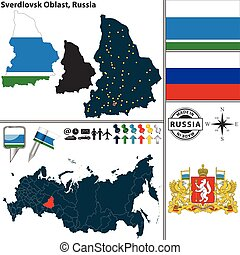 Vector map of Sverdlovsk Oblast with coat of arms and location on Russian map