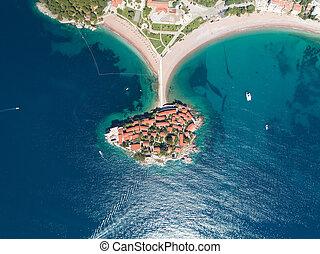 Sveti Stefan island in Budva, Montenegro, aerial