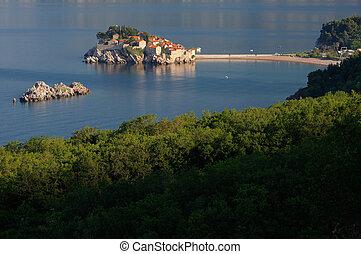 Sveti Stefan island near city of Budva, Montenegro on Adriatic coast