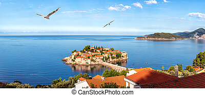 Sveti Stefan islet, wonderful panorama in the Budva riviera, Montenegro.