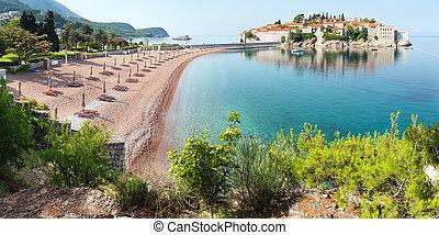 sveti, stefan, meer, inselchen, (montenegro)., sommer, panorama.