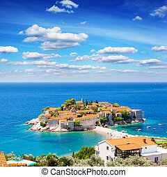 sea - Sveti Stefan, small islet and resort in Montenegro....