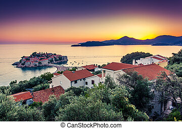 sea - Sveti Stefan, small islet and resort in Montenegro. ...