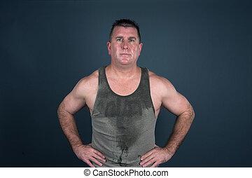 svettig, muskulös, man, efter, genomkörare