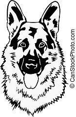 svg, dog, duitse herdershond