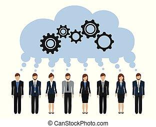 sviluppare, uomini affari, idea, comune, donne, ingranaggi