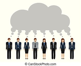 sviluppare, uomini affari, idea, comune, donne