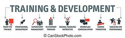 sviluppo, addestramento, concetto, illustrazione, vettore, bandiera