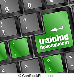 sviluppo, addestramento, parola, tastiera computer, educazione, concept: