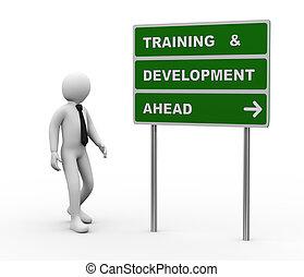 sviluppo, addestramento, &, roadsign, uomo affari, 3d