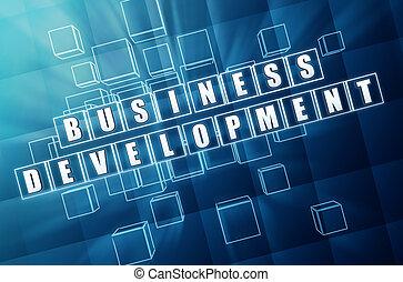 sviluppo affari, in, vetro blu, cubi