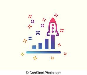 sviluppo, affari, lancio, segno., avvio, vettore, piano, icon.