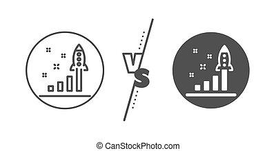 sviluppo, affari, lancio, segno., avvio, vettore, piano, linea, icon.
