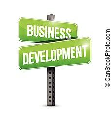 sviluppo, affari, segno strada