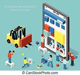 sviluppo, appartamento, isometrico, concetto, stile, vettore, disegno, ui, smartphone, 3d