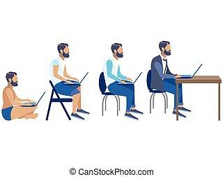 sviluppo, art fisso, clip, freelancer, generazione, cartone animato, set, vettore, impiegato, programmatore, palcoscenici, palcoscenici, disegno
