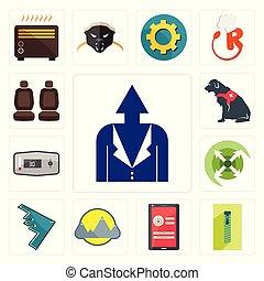 sviluppo, cane, set, chiusura lampo, servizio, icone, personale, automobile, termostato, estendere, montain, schermo, furtività, login, posto, bombardiere