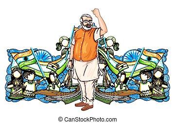 sviluppo, collage, esposizione, india, salita, progresso, descrivere