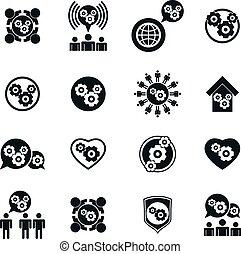 sviluppo, insolito, tema, ingranaggio, potere, icone, sistema, s, progresso