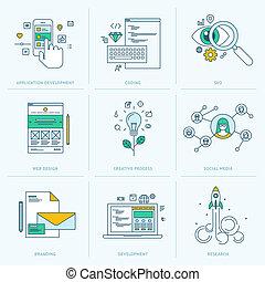 sviluppo, linea fissa, icone, web