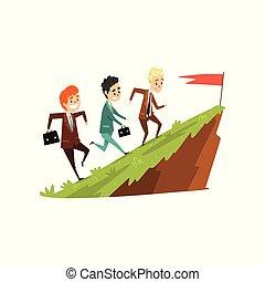 sviluppo, montagna, avanti, carriera, bandiera, tre, affari illustrazione, correndo, concetto, vettore, insieme, fondo, bianco, condottiero, uomini affari
