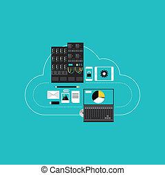 sviluppo, nuvola, hosting, affari, calcolare
