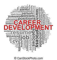 sviluppo, parola, etichette, carriera, wordcloud, disegno, circolare