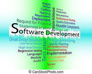 sviluppo, parola, nuvola, software