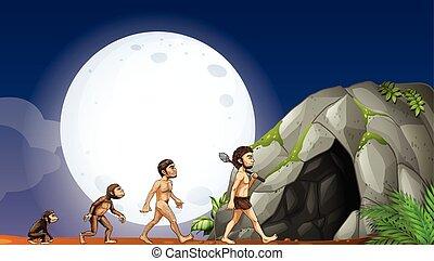 sviluppo, scimmie, umano
