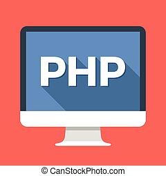 sviluppo, semplice, moderno, computer, disegno, cultura, concepts., back-end, web, lungo, codificazione, appartamento, screen., illustrazione, programmazione, uggia, php, parola, language., server-side, vettore, icon., scripting